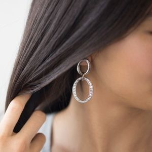 Pave links post drop earrings